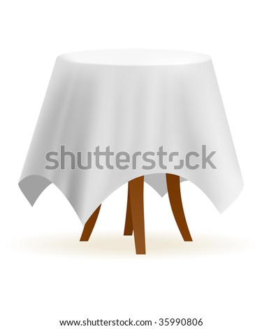 Small And Round Vector Cafe Table With White Table Cloth
