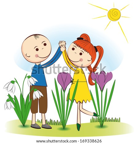 Small and smile boy and girl in spring garden - stock vector