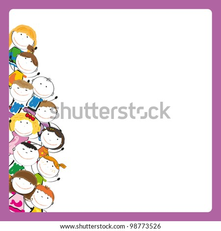Small and smile colorful kids with banner - stock vector