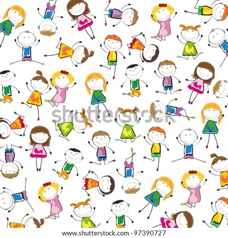 Small and smile kids playing and dancing - stock vector