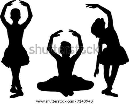 small ballet dancer black silhouette - stock vector