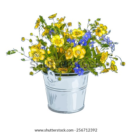 Small bouquet with meadow flowers. Vector illustration.