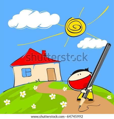 Small boy's drawing of a house - stock vector