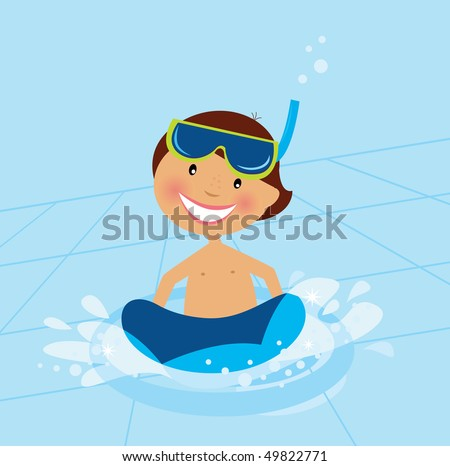 Small boy swimming in water pool. Vector Illustration of small happy boy swimming in cold pool. Pool behind boy is dynamic with perspective angle. - stock vector