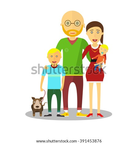 Small boy, woman and man happy family couple. Women and men in love, modern family, families with baby kid. Modern family portrait. Typical family. People couple, people family together concept.  - stock vector
