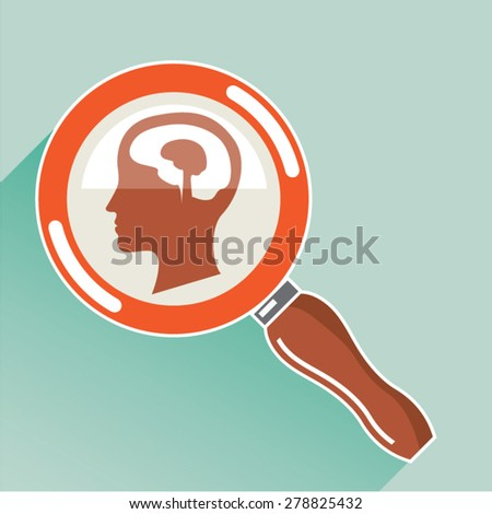 Small brain under magnifying glass - stock vector