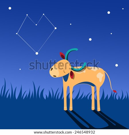 Small bull walks at night and thinks about love - stock vector