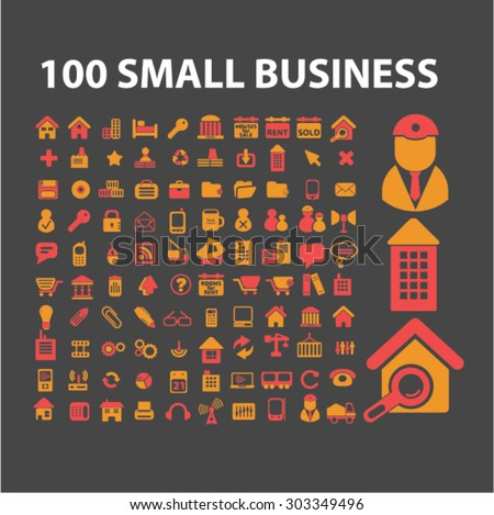 small business isolated flat web icons, signs, illustrations set, vector - stock vector
