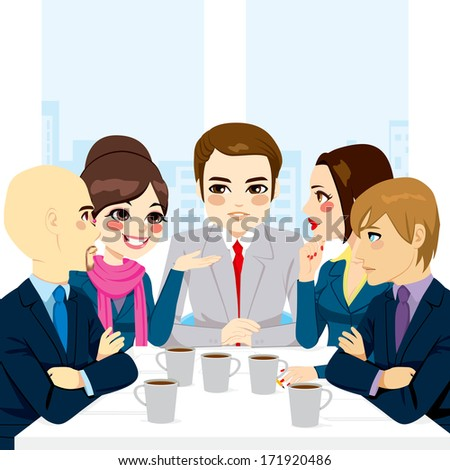Small business team discussing new projects and documents at office while drinking coffee - stock vector