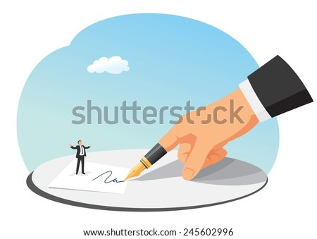 Small businessman asks big boss for a contract signature - stock vector