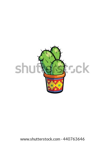 small cactus plant in a pot - stock vector