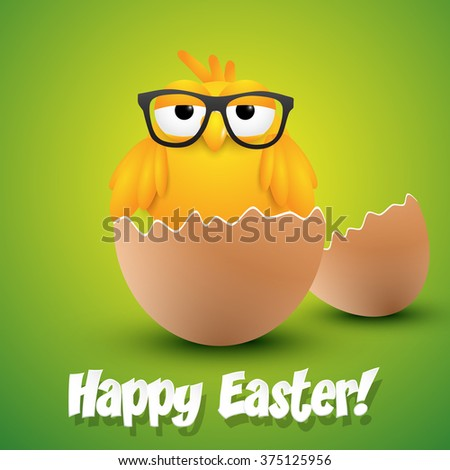 Small chick with hipster glasses hatching from an egg, ester greeting card. Vector illustration. - stock vector