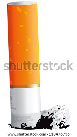Small cigarette butt with ash. Vector illustration. - stock vector