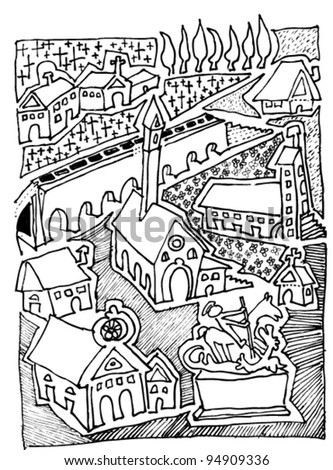 small city - Japanese Garden Bridge Drawing