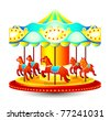Small classic children merry-go-round with horses - stock vector