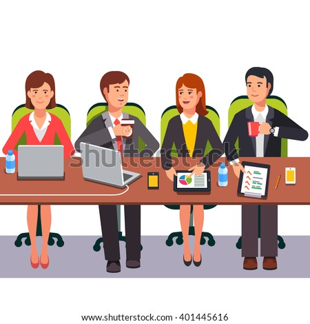 Small collaboration team working together on a presentation project. Flat style vector illustration. - stock vector