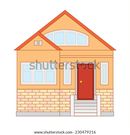 Small cozy orange suburban cottage - vector different sides