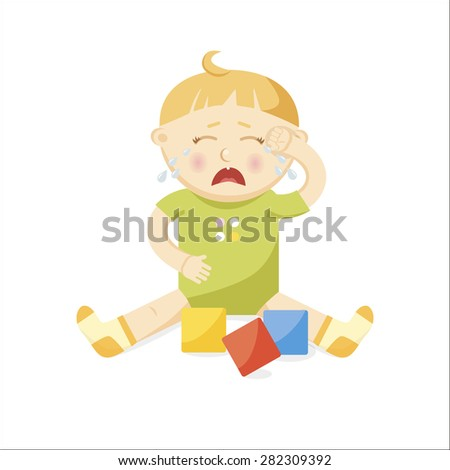 Small crying baby. Vector Illustration - stock vector