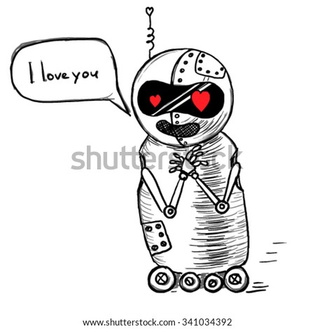 Small cut robot in love sketch. Robot says I love you. - stock vector