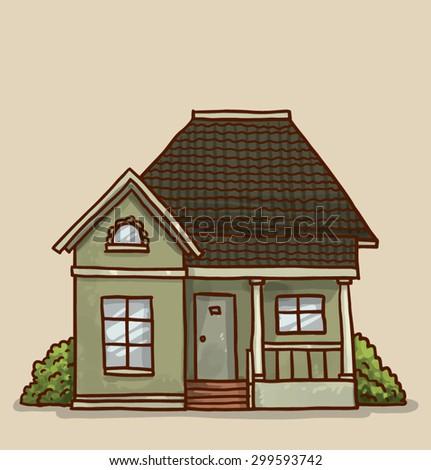 Small cute house, vector - stock vector