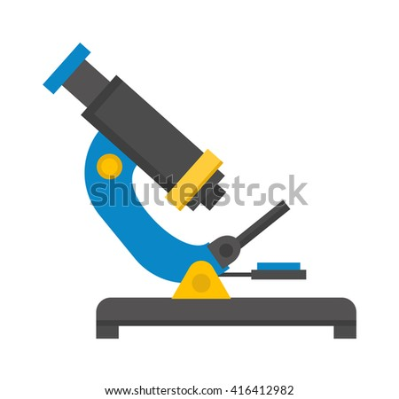 Small educational microscope on white. Microscope isolated research equipment and science microscope isolated. Biology instrument optical microscope isolated and microscope isolated technology. - stock vector