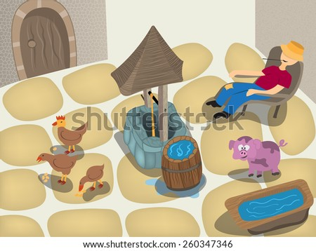 Small farm cartoon scenery with well. - stock vector