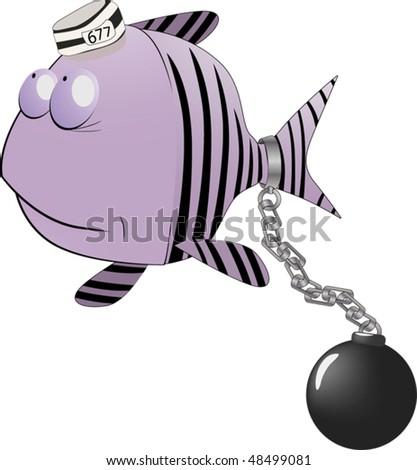 Small fish the prisoner - stock vector