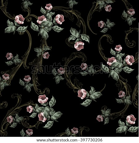 Small flowers pattern  with baroque swirls in vintage style - stock vector