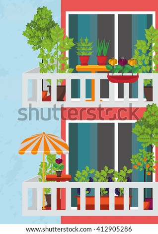 Small garden on terrace or veranda stock vector 412905286 for Balcony clipart