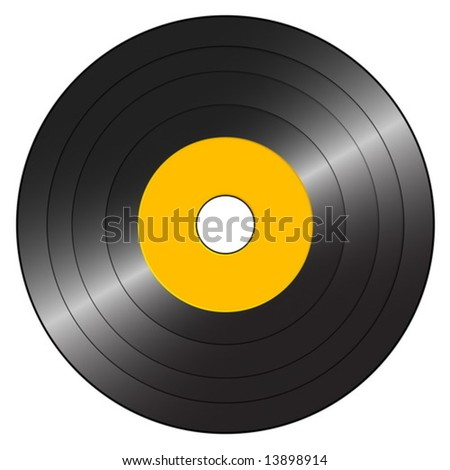Small gramophone record on a white background. Vector illustration