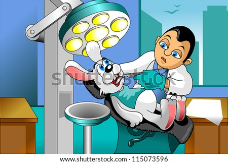 small gray rabbit at a reception at the dentist (vector illustration); - stock vector