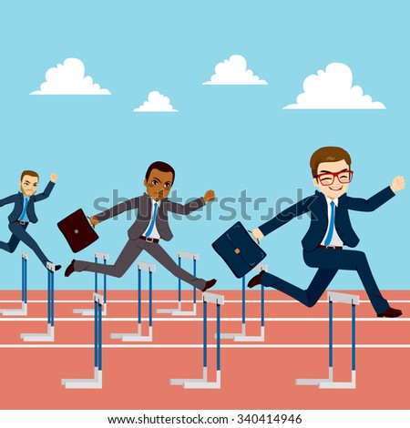 Small group of businessmen competition concept jumping hurdles on business competitive career - stock vector