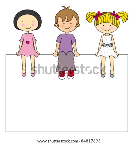 Small group of children sitting on a sign. vector