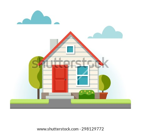 Small house and the adjacent street. Vector illustration in flat style. - stock vector