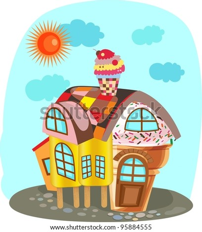 Small house from ice-cream - stock vector
