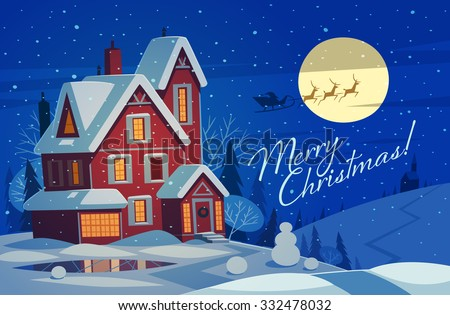 Small house in snow. Christmas greeting card background poster. Vector illustration. - stock vector