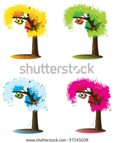 Small house on a tree - stock vector