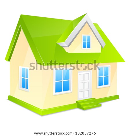 Small house with green roof. Isolated on a white background