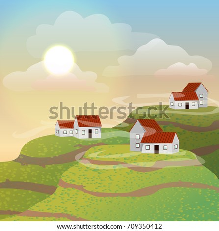 Small houses with red roofs on the hills. Morning, sun, clouds. Vector landscape can be used in newsletter, brochures, banner.