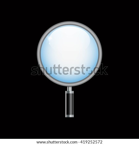 Small icon of magnifying glass on black background