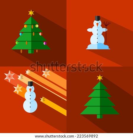 Small image themed Christmas snowman and Christmas tree - stock vector