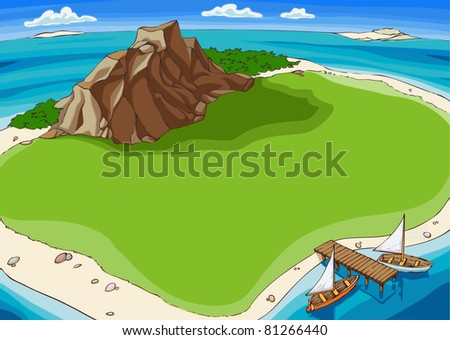 Small island in the middle of the Pacific Ocean. - stock vector