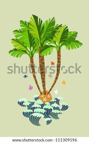 Small island with palm trees.Isolated on background. - stock vector