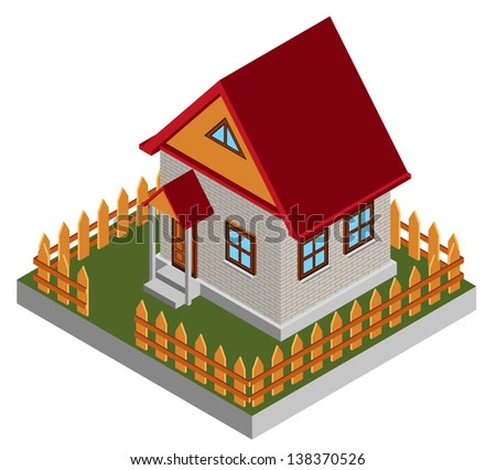 Small isometric house - stock vector
