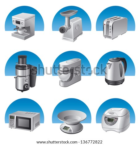 small kitchen appliances icon set - stock vector