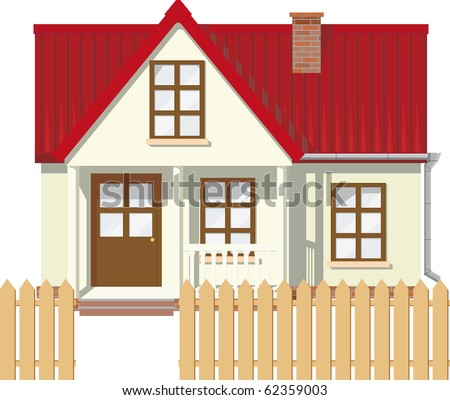 Small Mansion rural house with red roof surrounded by a fence - stock vector