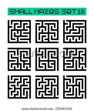 small mazes set 16 - stock vector