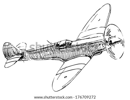 Small military propeller airplane drawing on white background - stock vector
