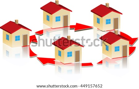 Small model houses on a circle from red arrows