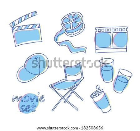 Small movie vector set - stock vector